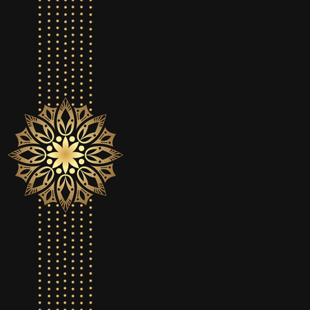 Black background with golden luxury border Vector illustration.