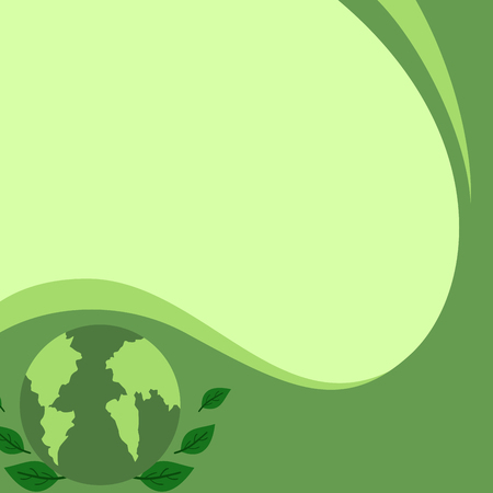 Green banner with earth and leaves vector illustration design 向量圖像