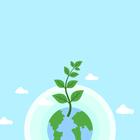 Earth day themed blue banner with earth and plant Vector illustration.