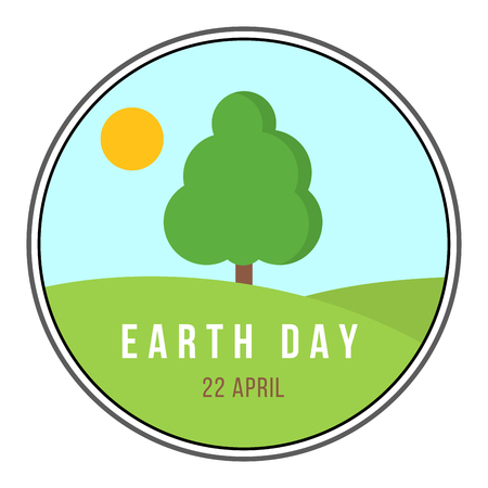 Earth day circular banner with nature scene Vector illustration.