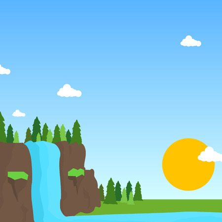 Nature waterfall scene clean environment banner Vector illustration.