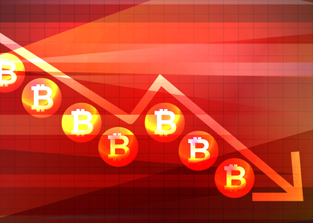 Downward bitcoin trend arrow design Vector illustration.