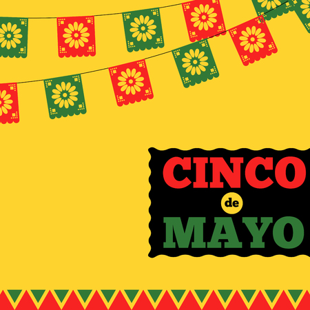 Cinco de mayo banner with decorative buntings 向量圖像