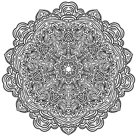 Hand drawn decorative mandala design in black and white 向量圖像