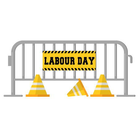 Labour day banner with a barrier and road cones