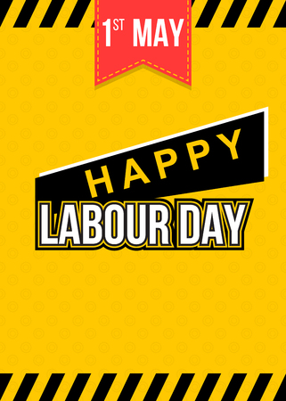 Labour day themed yellow banner witn copy space