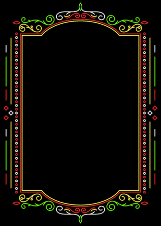 Decorative frame on blackground in mexican colors