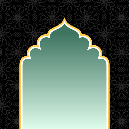 Islamic black background with golden arch