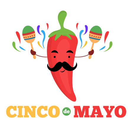 Red chilli character with maracas cinco de mayo banner