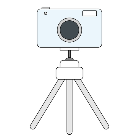 Camera on a tripod line style illustration