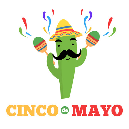 Mexican cactus cartoon character cinco de mayo banner
