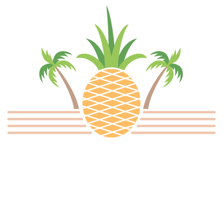 Pineapple and palm trees summer themed banner 向量圖像