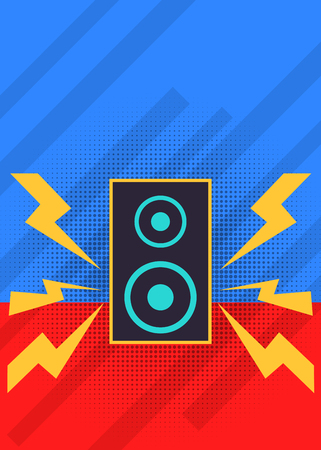 Music red and blue background with speakers