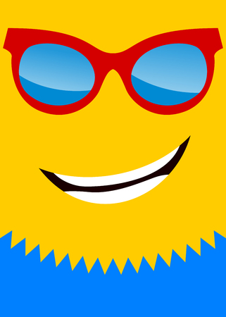 Poster of happy sun with sunglasses 向量圖像