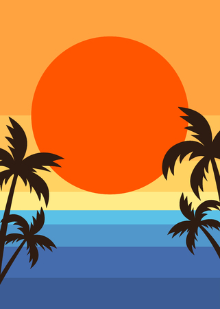 Retro style summer beach sunset poster