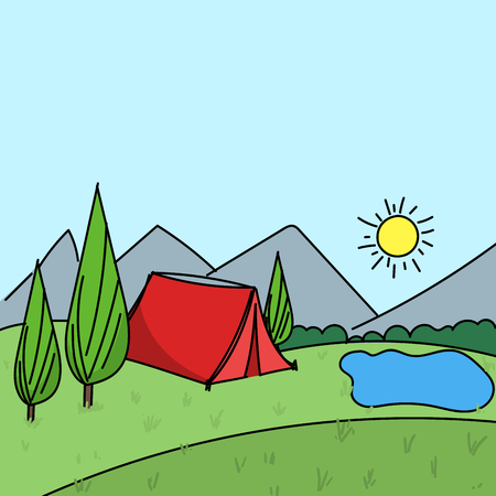Hand drawn summer outdoors camp environment