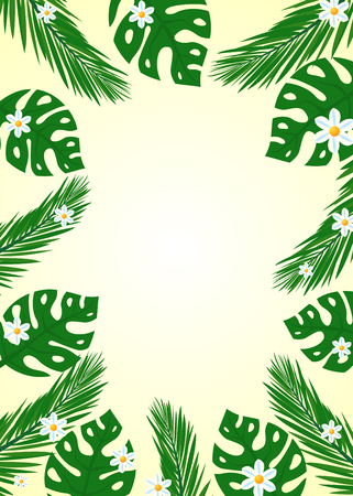 Summer themed banner with lush green tropical leaves