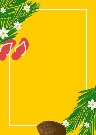 Summer themed yellow banner with flip flops and coconut
