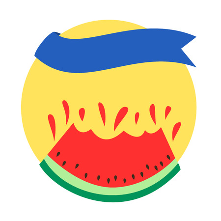 Summer themed circular banner with watermelon