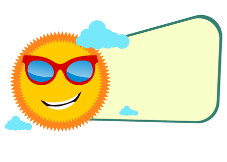 Funny summer banner with sun wearing glasses 向量圖像