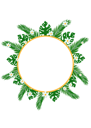 Circular banner with green tropical leaves and flowers