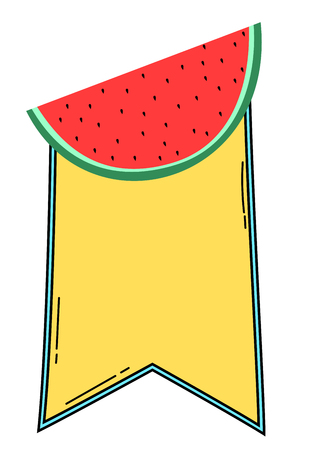 Summer themed fruity banner with watermelon slice