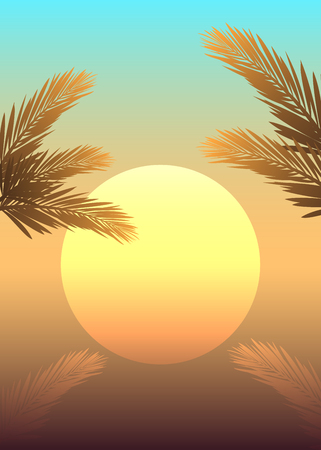 Summer themed banner with sunset and palm trree leaves 向量圖像