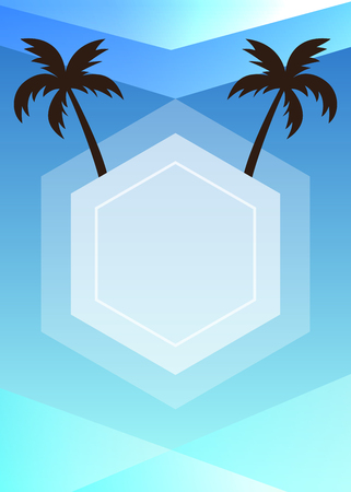 Blue summer themed banner with palm trees silhouette