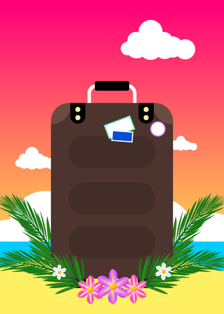 Tropical summer vacations themed banner with suitcase 向量圖像