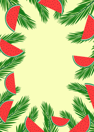 Summer banner with green plam tree leaves and watermelon slices