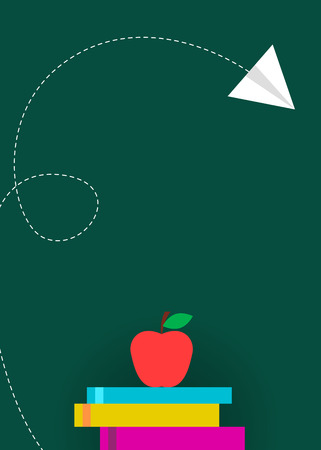 Green school board banner with books and apple 向量圖像