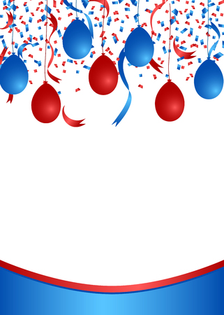 American patriotic confetti and balloons banner