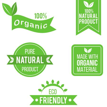 Green organic product labels 向量圖像