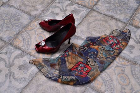 shoes and a handkerchief Stock Photo