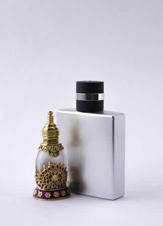 toilette: male and female perfume bottles Stock Photo