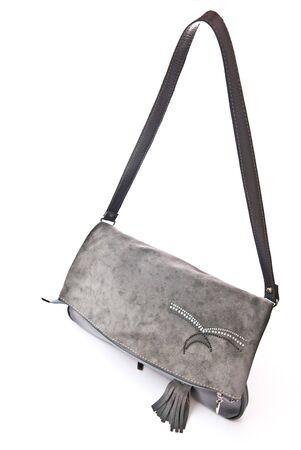Leather grey handbag isolated on white background photo