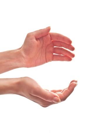 manos abiertas: Abra de manos de la mujer. Aislados en blanco