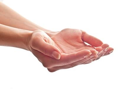 mains ouvertes: Mains belle femme ouvrir. Isol� sur fond blanc