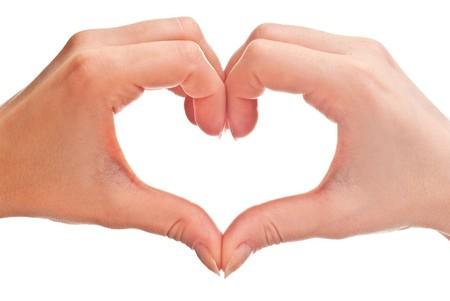 homosexuales: forma de coraz�n se hizo de manos la mujer dos. Aislados en blanco