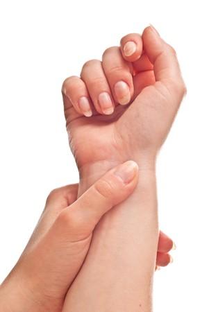 Female hand isolated on white background. Studio shot photo
