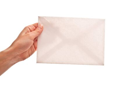 Empty envelope in woman's hand. Isolated on white Stock Photo - 7411790