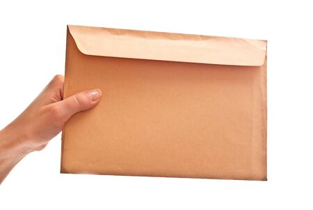 Envelope in woman's hand. Isolated on white Stock Photo - 7412038
