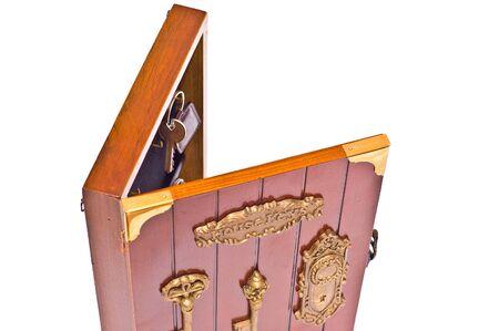 inwardly: keys from house inwardly wooden box on white Stock Photo