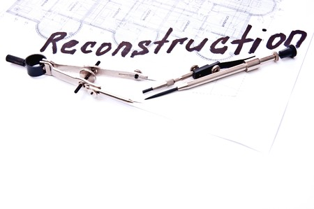 reconstruction: The drawing tools on technical plans with  inscription reconstruction