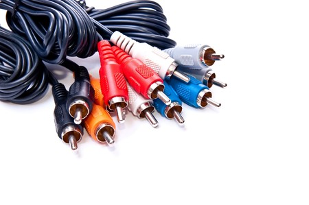 Bunch of RCA plug connectors isolated on white. With shadow photo