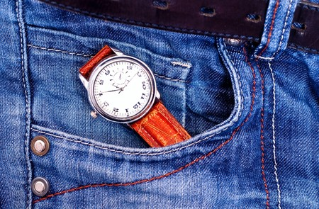 Watch in jeans pocket photo