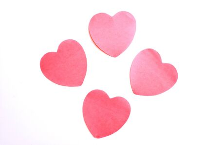 Four red paper hearts isolated on white Stock Photo - 7368506