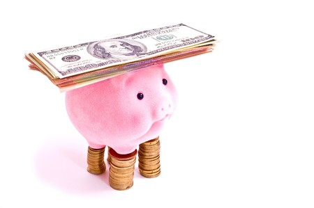 pink pig stands on the pile of chinks with dollars on head. Isolated on white photo