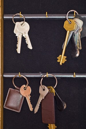 inwardly: many keys from house inwardly wooden box on black