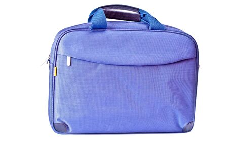 duffle: One blue bag with zipper isolated on white